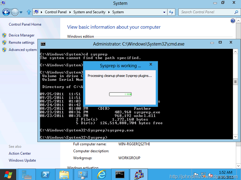 Windows Developer Preview - Sysprep (System Preparation Tool) Busy.